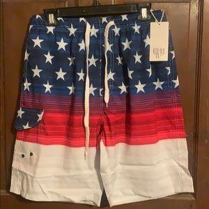 Men's Medium American Flag Bathing Suit (New)